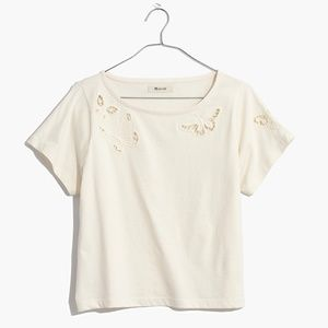 Madewell Butterfly Embroidered Eyelet Boxy Tee, S